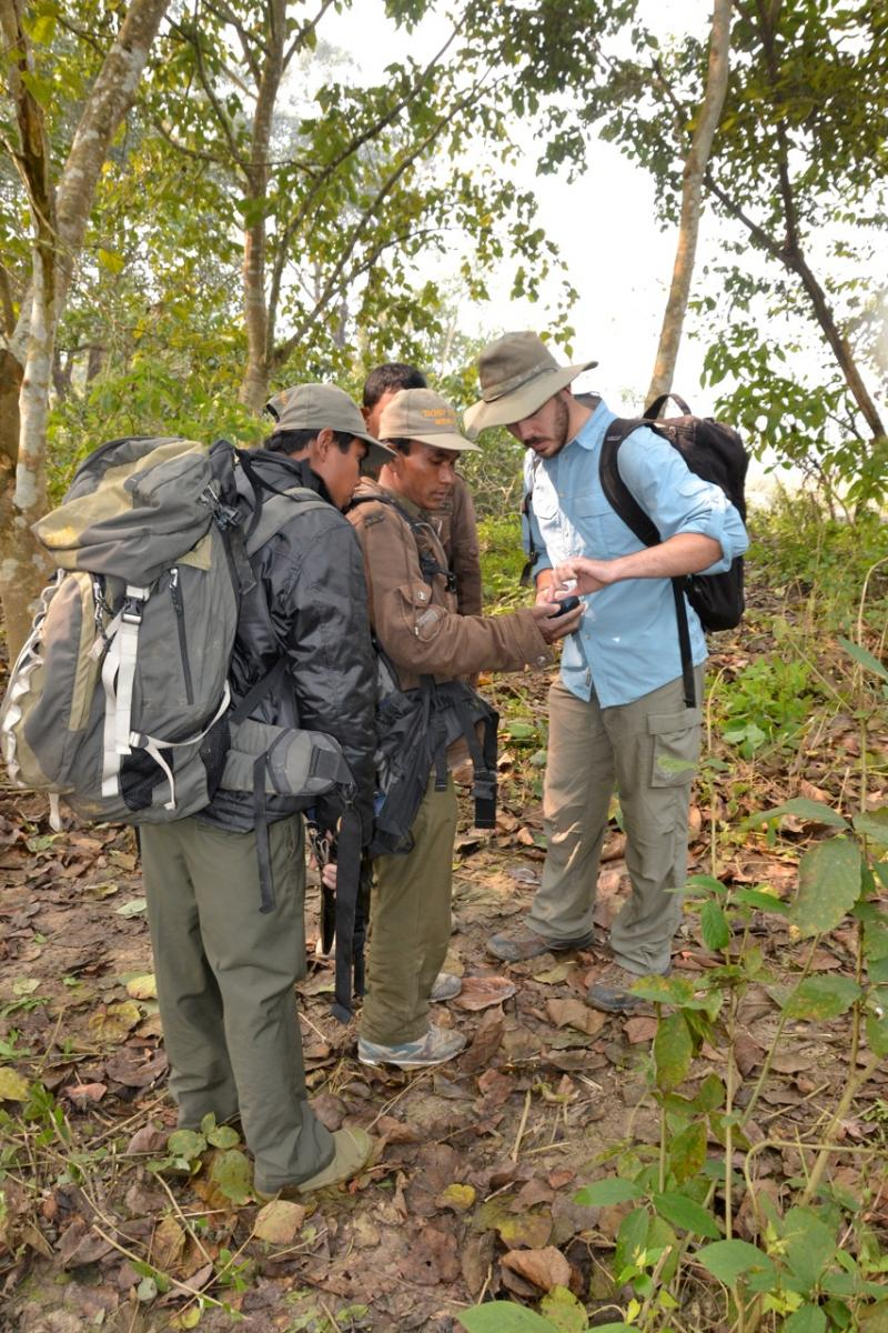 Setting camera traps in Chitwan
