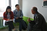 Yue Dou and Jing Sun interview farmer in Heilongjiang, China